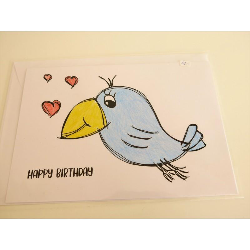 Happy Birthday Karte.Karte Happy Birthday Vogel