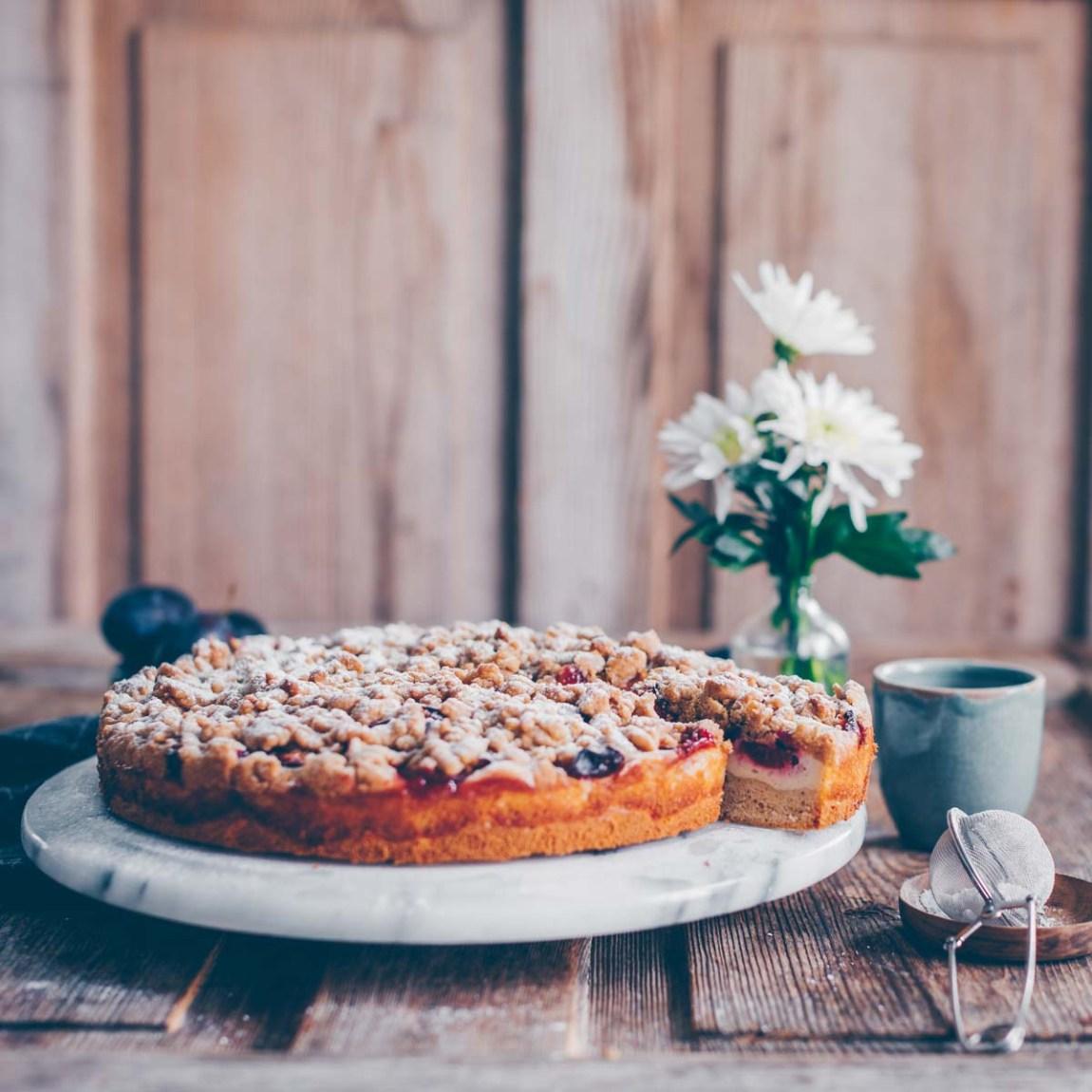 Pflaumenkuchen mit Streuseln vegan