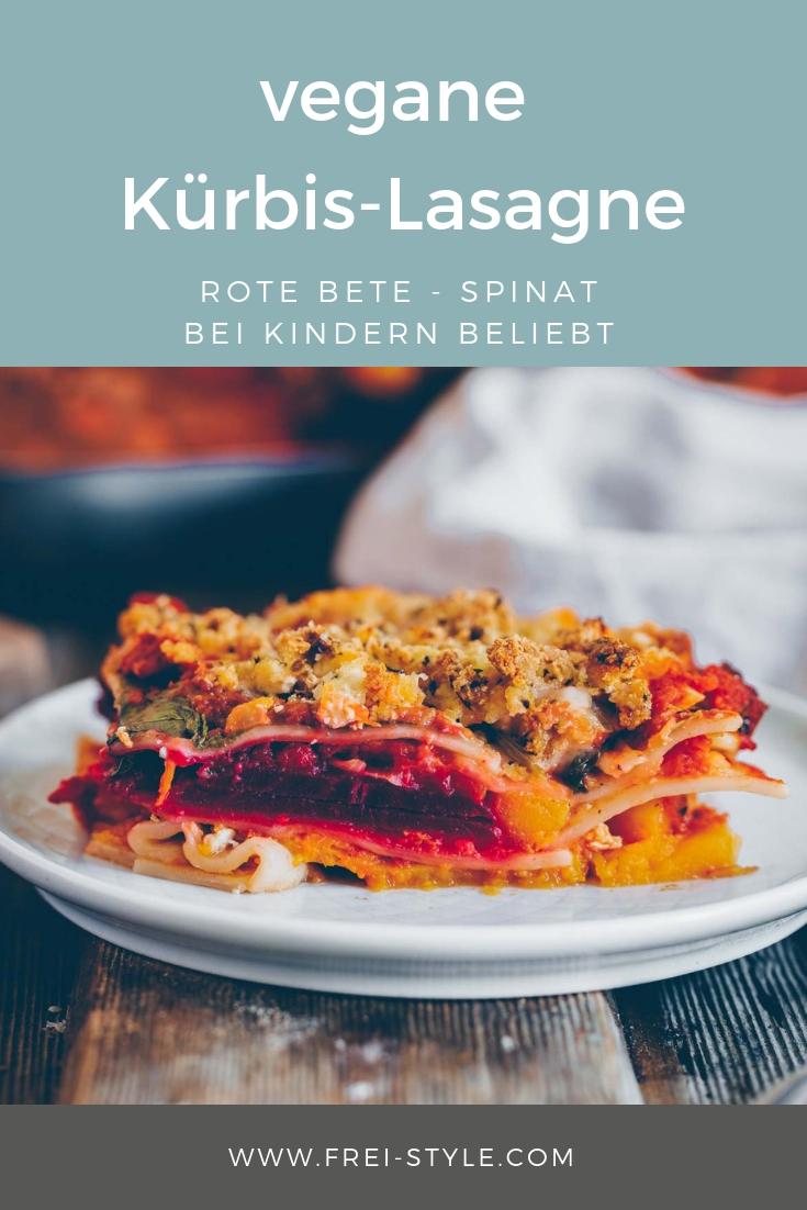 Herbst Lasagne mit Kürbis, Rote Bete und Spinat - vegan
