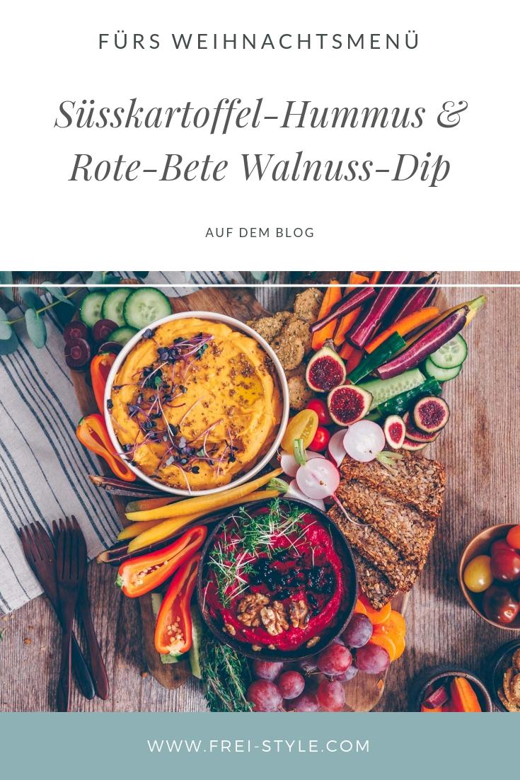 Süsskartoffel-Hummus & Rote-Bete Walnuss-Dip