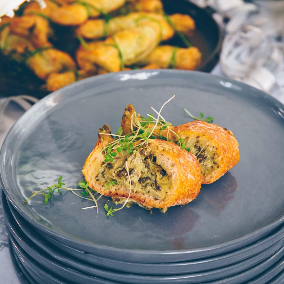 Gefülltes Baguette mit Spinat und Artischocke -vegan