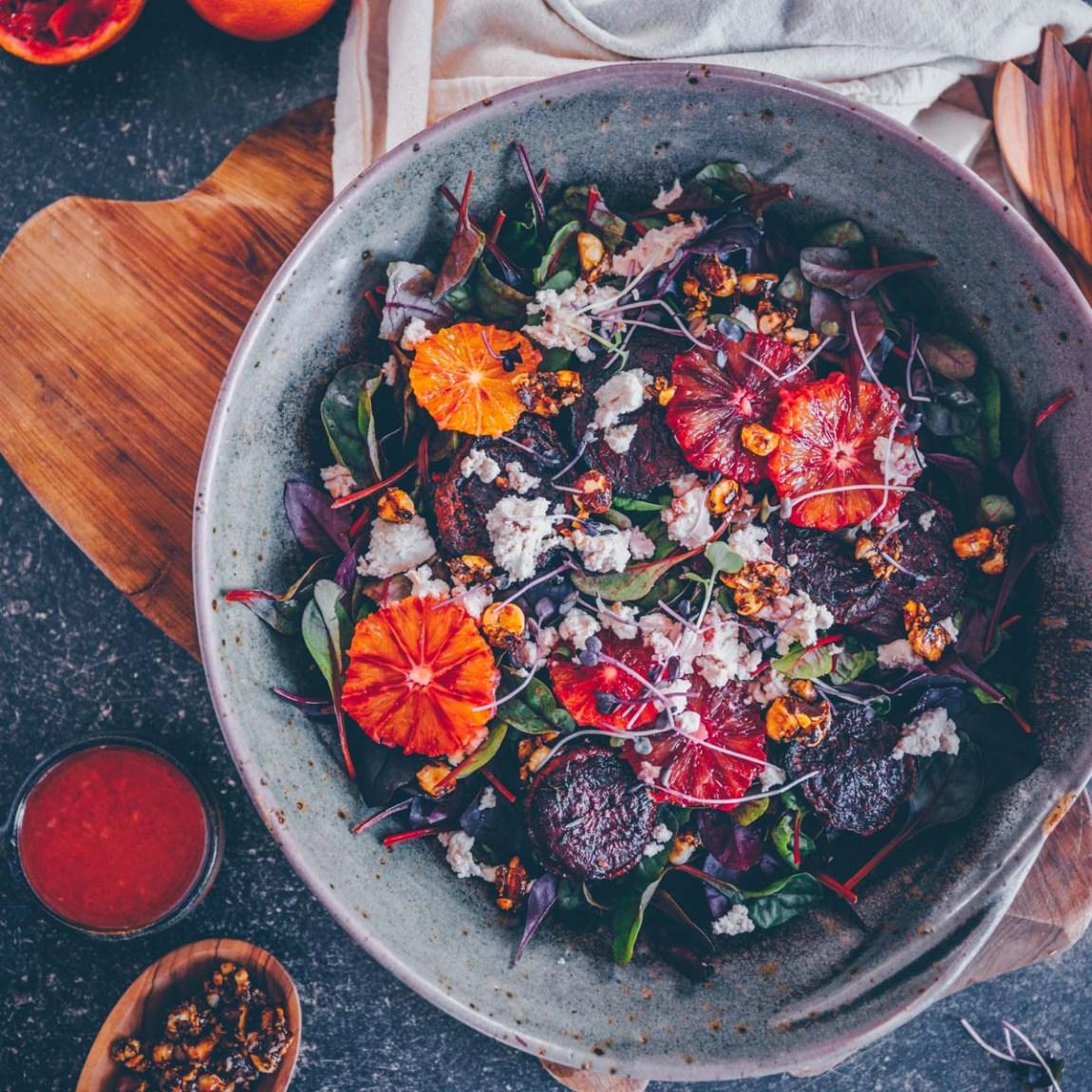 Rote Bete (Randen) Salat mit Orangen und Ricotta