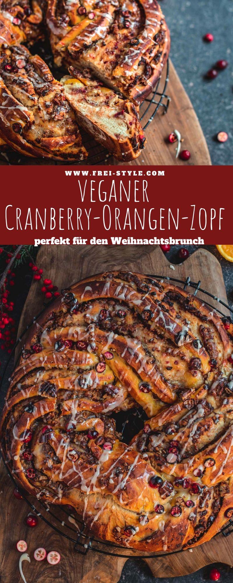 Veganer Cranberry Orangen Zopf