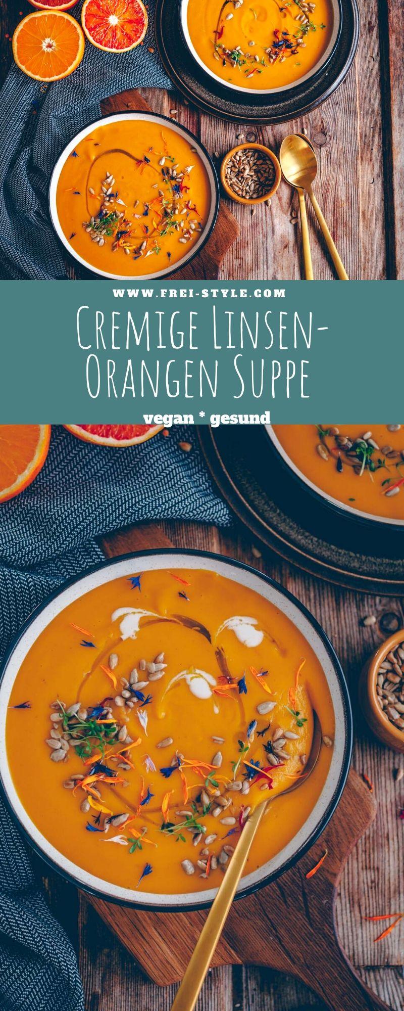 Cremige Orangen-Linsen Suppe