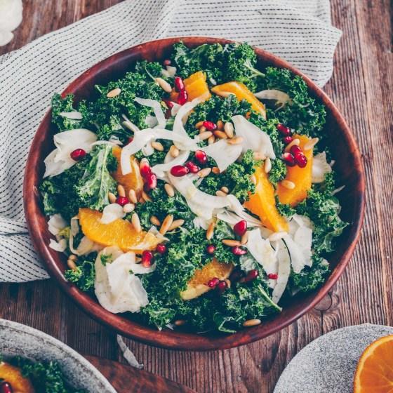 Federkohl Salat mit Orange und Fenchel