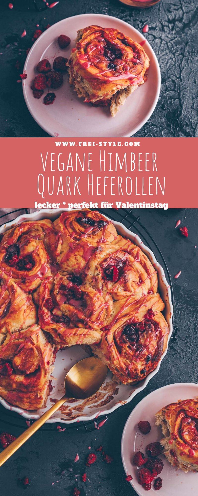 Vegane Himbeer-Quark Heferollen