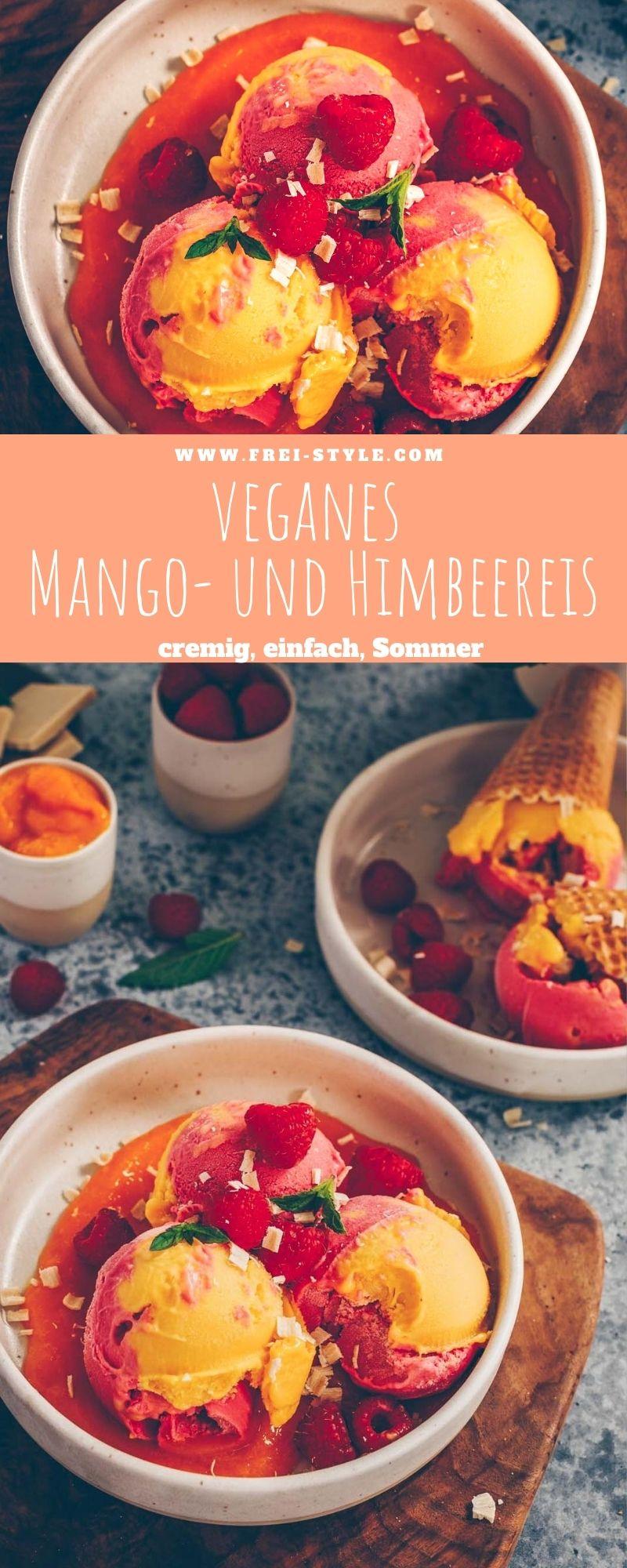 Veganes Mango- und Himbeereis