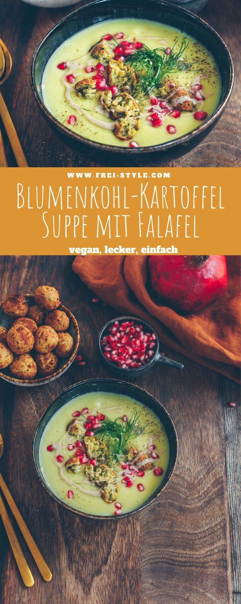 Blumenkohl-Kartoffel Suppe mit Falafel