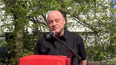 Gedenkstätte Seelower Höhen, 9. Mai 2021: Freidenker-Beiratsmitglied Hans Bauer bei seiner Rede (Screenshot aus dem Video)