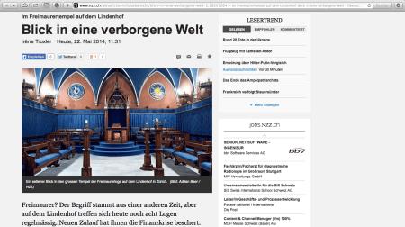 NZZ Bericht über das Freimaurer Logenhaus und den Tempel in Zürich, Lindenhof