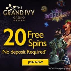 Grand Ivy Casino (review): 120 gratis spins + €1,500 free bonus