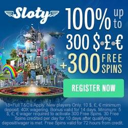 Sloty Casino 1.500€ gratis bonus   300 freispiele auf spielautomaten
