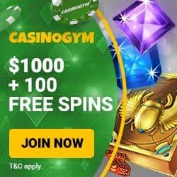 CasinoGym Free Bonus: 100 gratis spins and $1,000 welcome offer