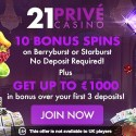 21 Prive Casino 1000 EUR welcome bonus and 60 gratis spins