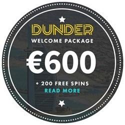 Dunder Casino 200 freispiele und 600€ Willkommensbonus