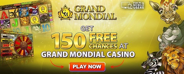 Grand Mondial Casino 150 free spins on Mega Moolah jackpot