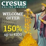 How to get 150% bonus and €300 free spins to Cresus Casino?