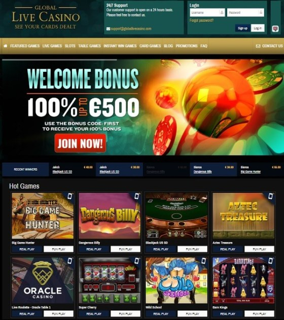 Global Live Casino free spins bonus