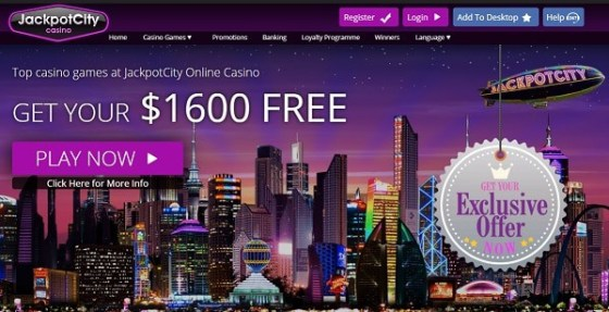 $1600 free bonus to Jackpot City Casino