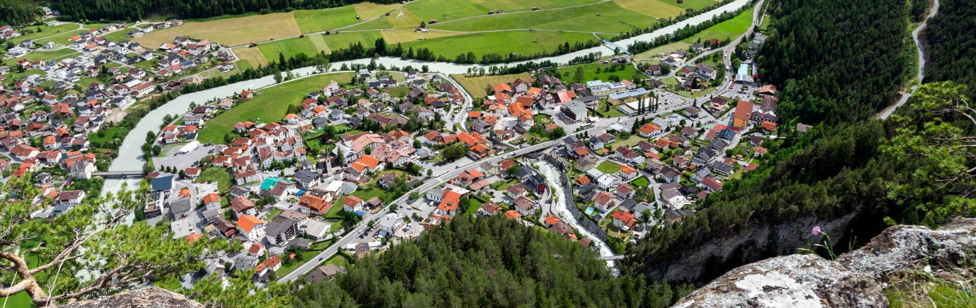 Klassenfahrt Tirol Pfunds von oben