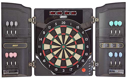 Best Sporting elektronische Dartscheibe Oxford 2.0, LED Dartboard Kabinett mit 12 Dartpfeilen, Ersatzsspitzen und Netzteil