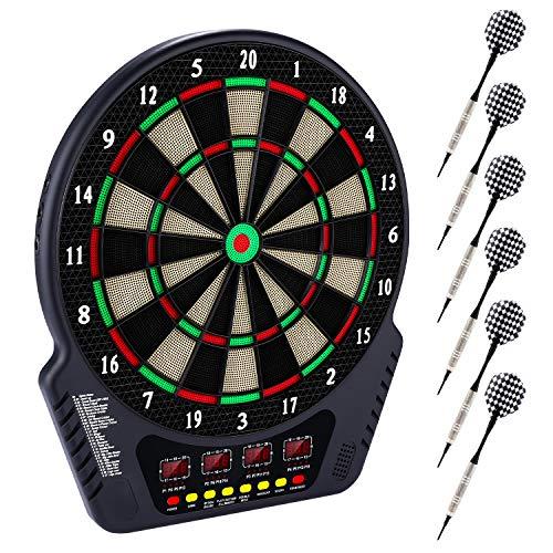 Dartscheibe elektronisch mit 6 Dartpfeilen Dart Kabinett Dartschrank Elektronische Klassische Dartboards (New_Upgraded)