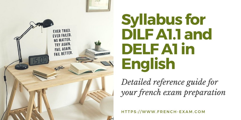 Syllabus for DILF A1 1 and DELF A1 in English - French Exam