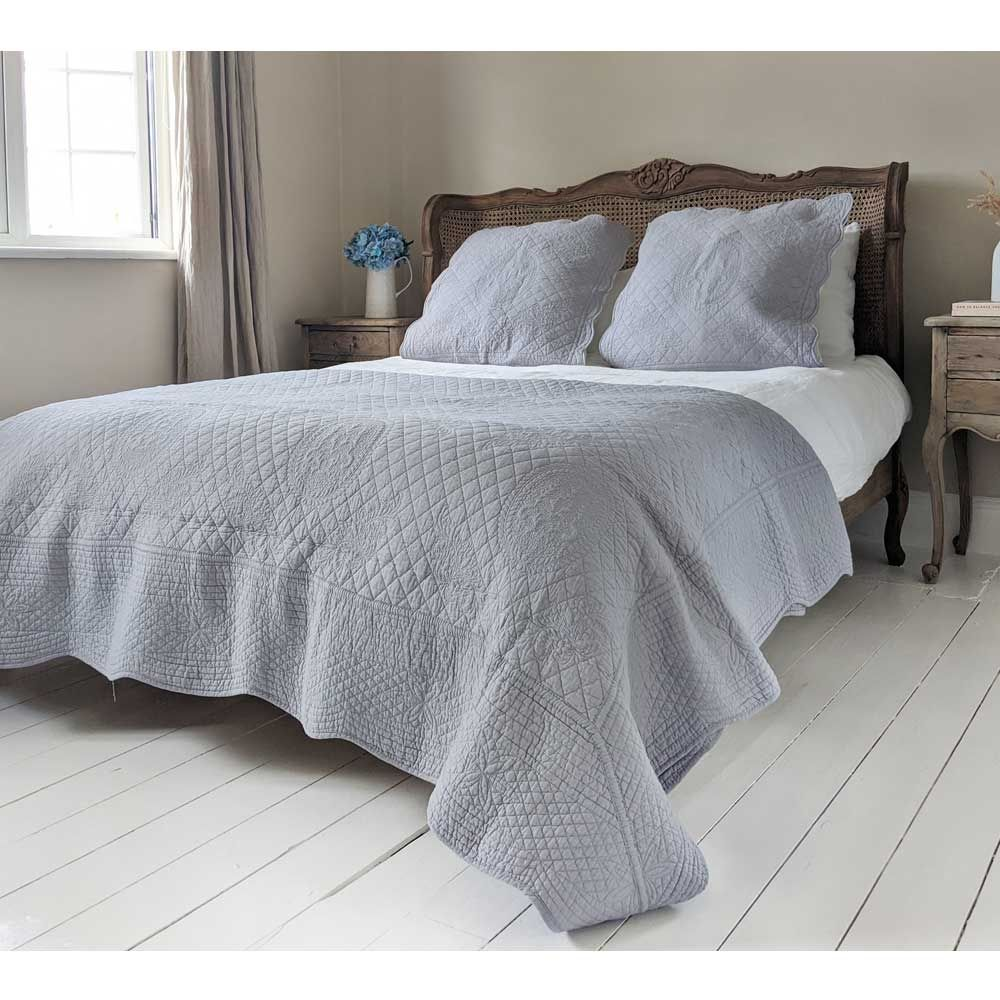 french grey cotton quilted bedspread pillow sham set