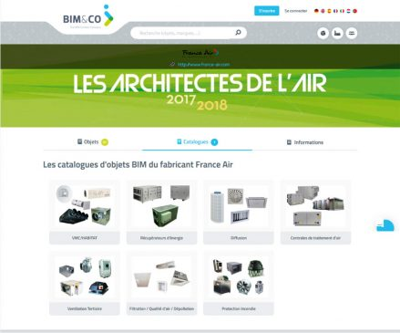 Le catalogue France air est disponible sur la plateforme de BIM&Co