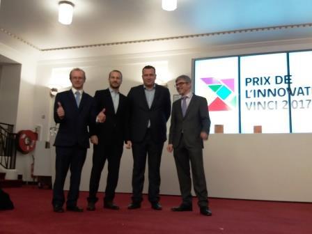 Trois des lauréats des prix de l'innovation Vinci 2017.