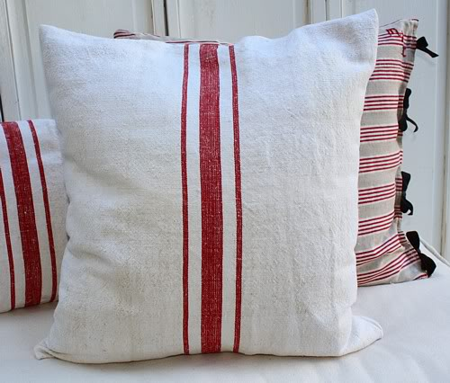 Antique French Grainsack Linen Pillow Red Ticking