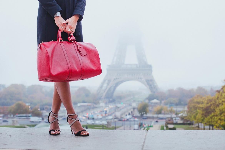 shopping in Paris, fashion woman near Eiffel Tower in France, Europe