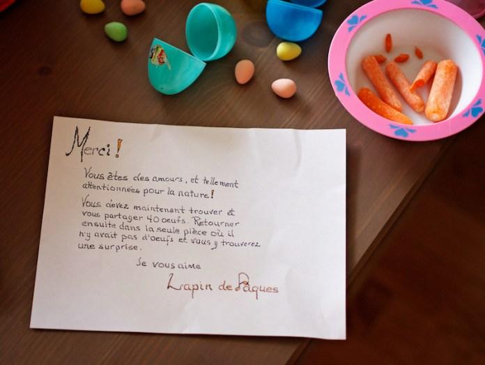 Lettre du Lapin de Pâques