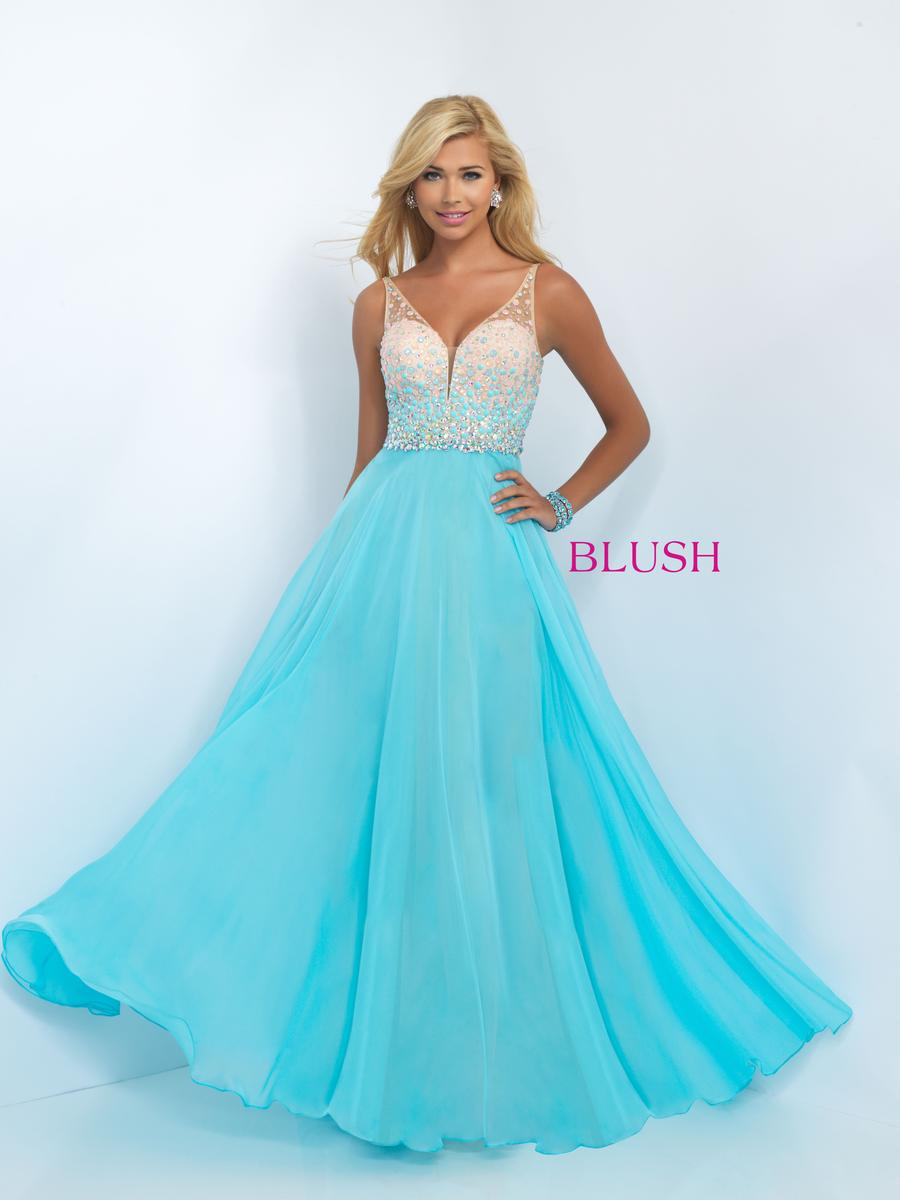 Blush 11087 Dazzling Chiffon Prom Gown French Novelty
