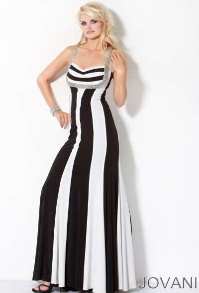 Jovani Black And White Long Prom Dress With Beading 159898