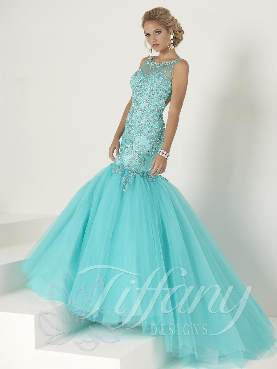 Tiffany Designs 16193 Layered Tulle Mermaid Gown French
