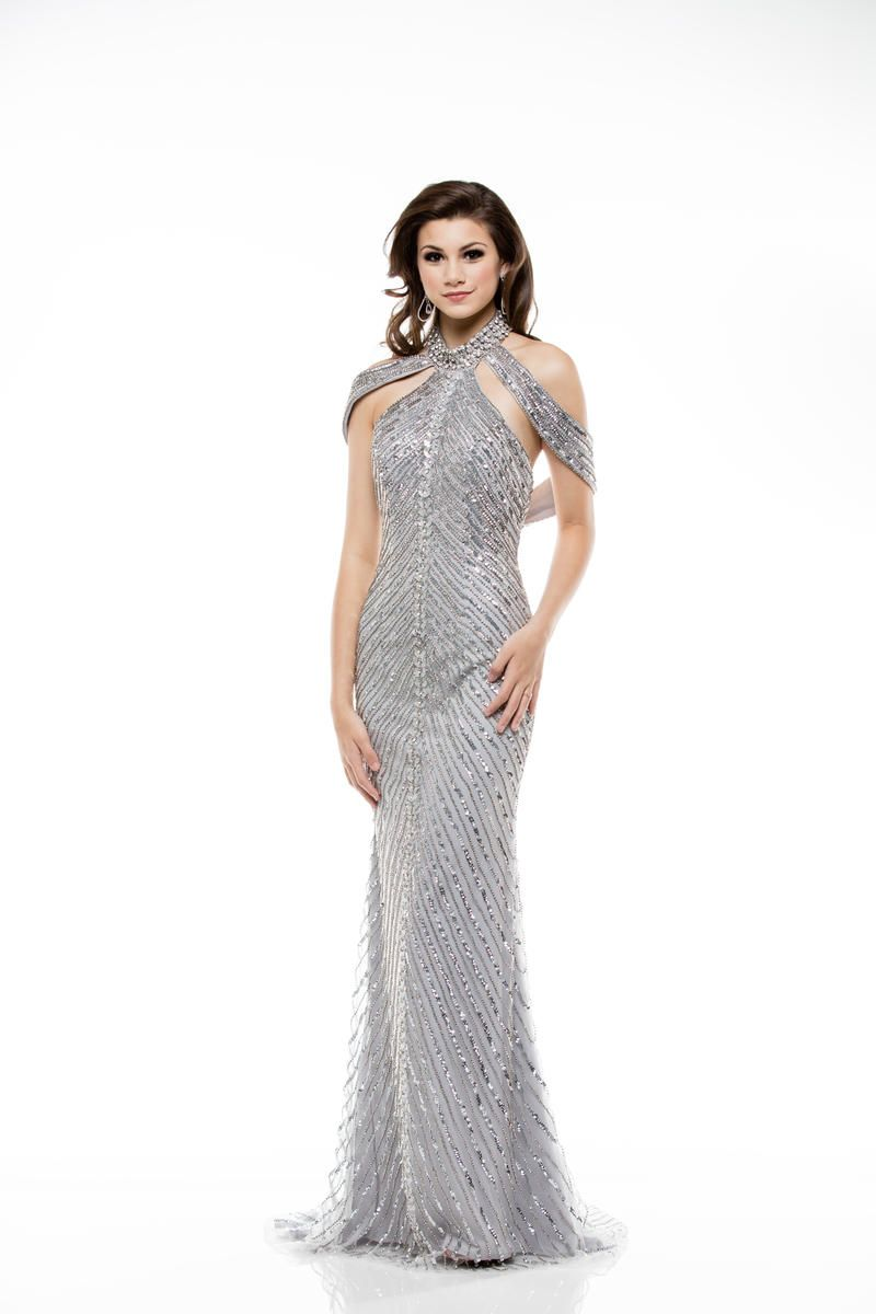 Colors Dress 1970 Halter Sequin Draped Gown French Novelty