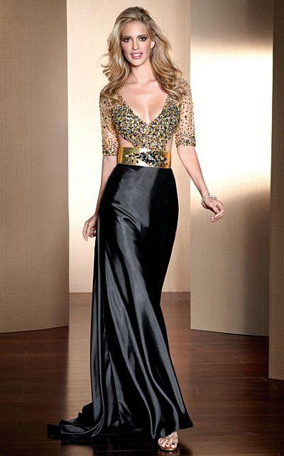 Claudine For Alyce Deep V Neck Beaded Prom Dress 2041