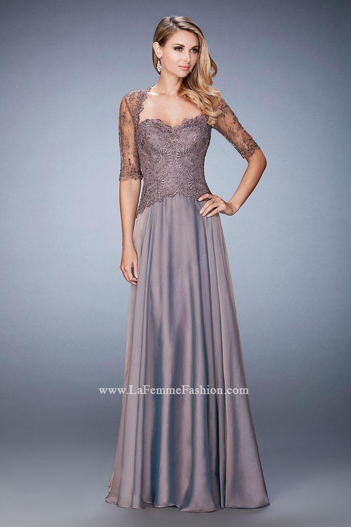 La Femme 21957 Elbow Sleeve Mothers Wedding Dress French