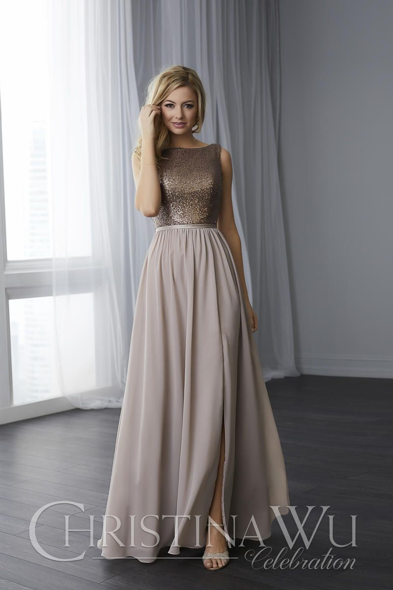 Christina Wu 22783 Sequin And Chiffon Bridesmaid Dress