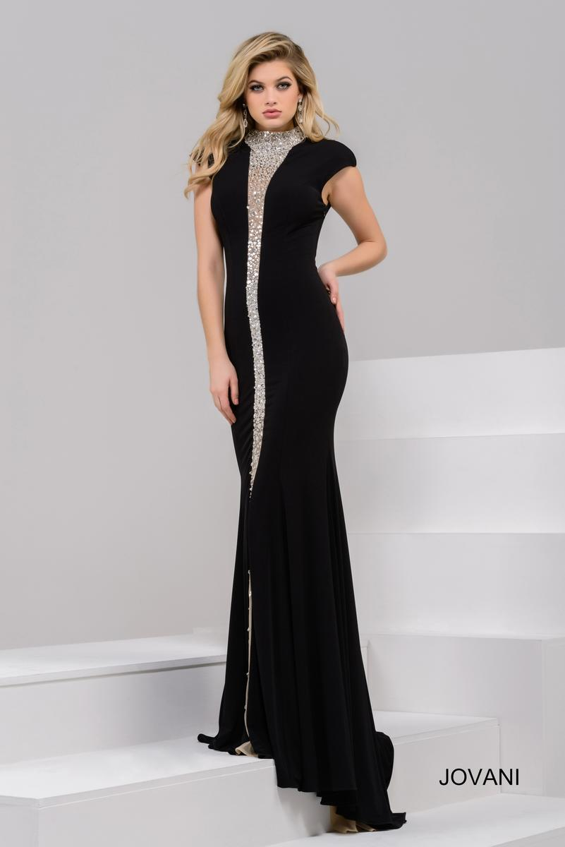 Jovani 39374 Gown With Sheer Beaded Panel French Novelty