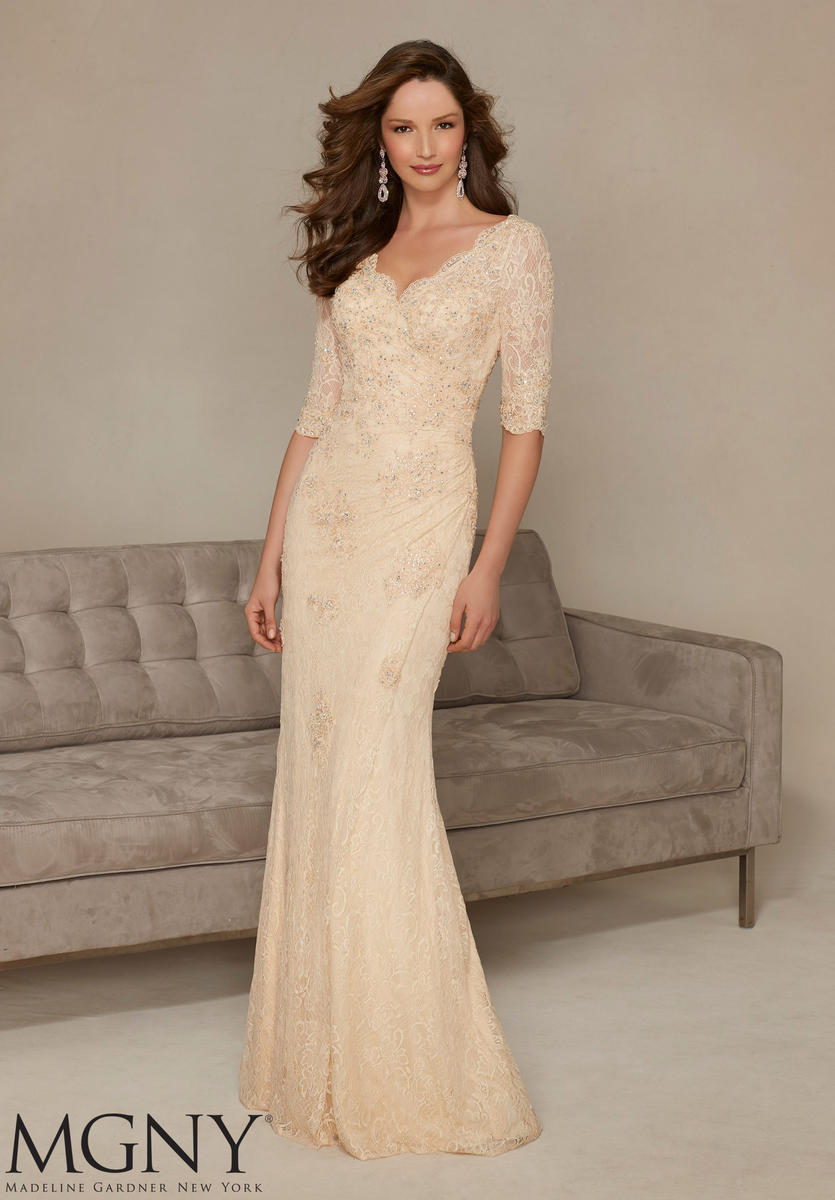 MGNY By Mori Lee 71325 Stretch Lace Mothers Gown French