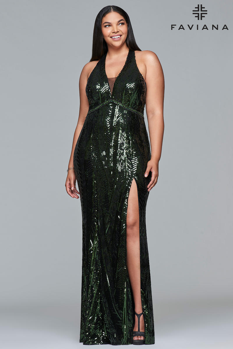 Faviana Curve 9430 Plus Size Sequin Prom Dress French Novelty