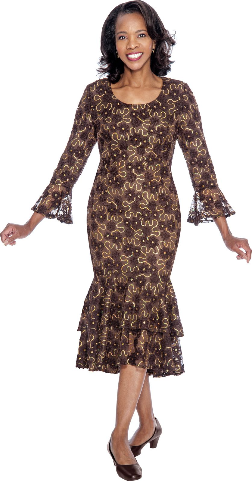 Nubiano DN4621 Sequin Lace Church Dress French Novelty