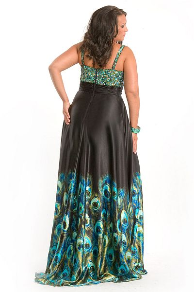 Party Time Plus Size Peacock Print Prom Dress 6810 French