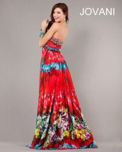 Jovani Tie Dye Print Evening Dress 6768  French Novelty Alternate view of the  product name  image
