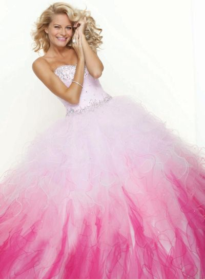 Paparazzi Beaded Ombre Prom Ball Gown 91001 By Mori Lee