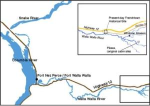 Map showing relative locations of Fort Nez Perces / Fort Walla Walla and Frenchtown. The Fort was approximately twenty miles west of Frenchtown.
