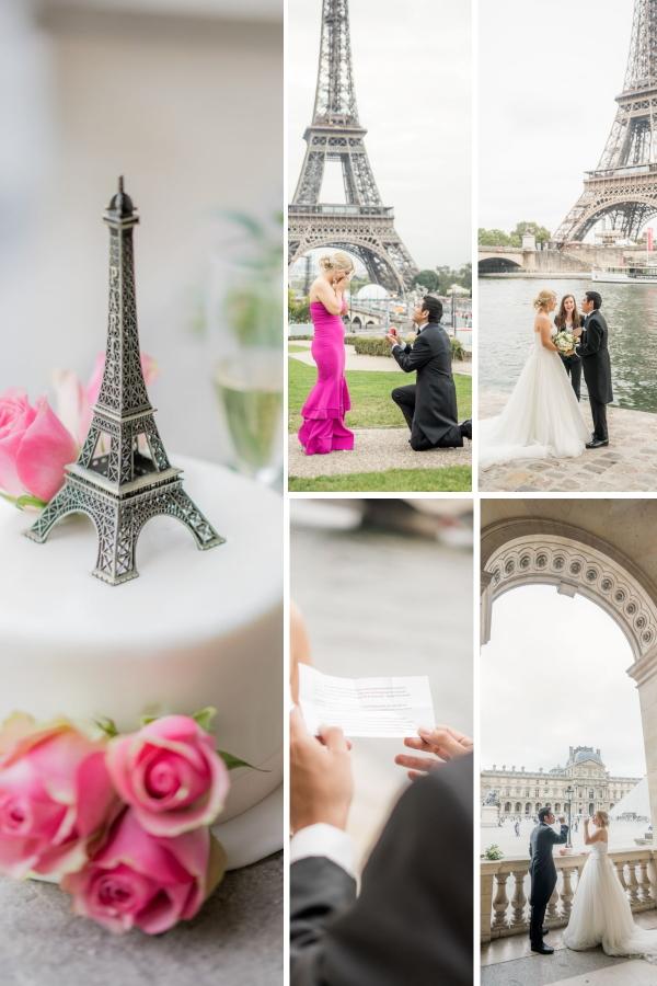 Collage de fiançailles surprise et mariage à Paris