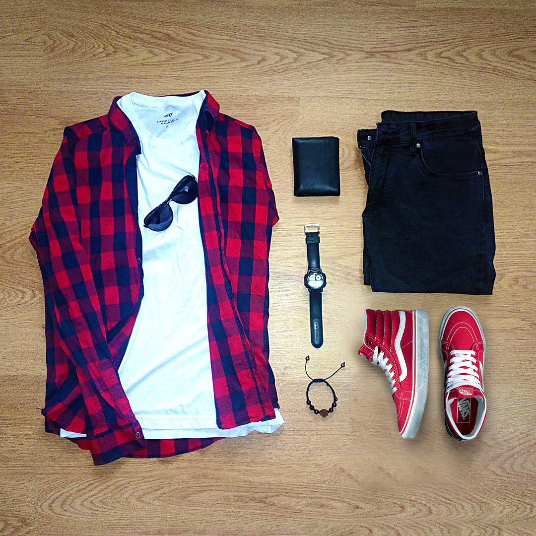 Red Vans Sneakers Amp Red Woven Shirt Perfect Match